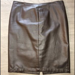 NY&CO Brown Faux Leather Pencil Skirt - Size 10